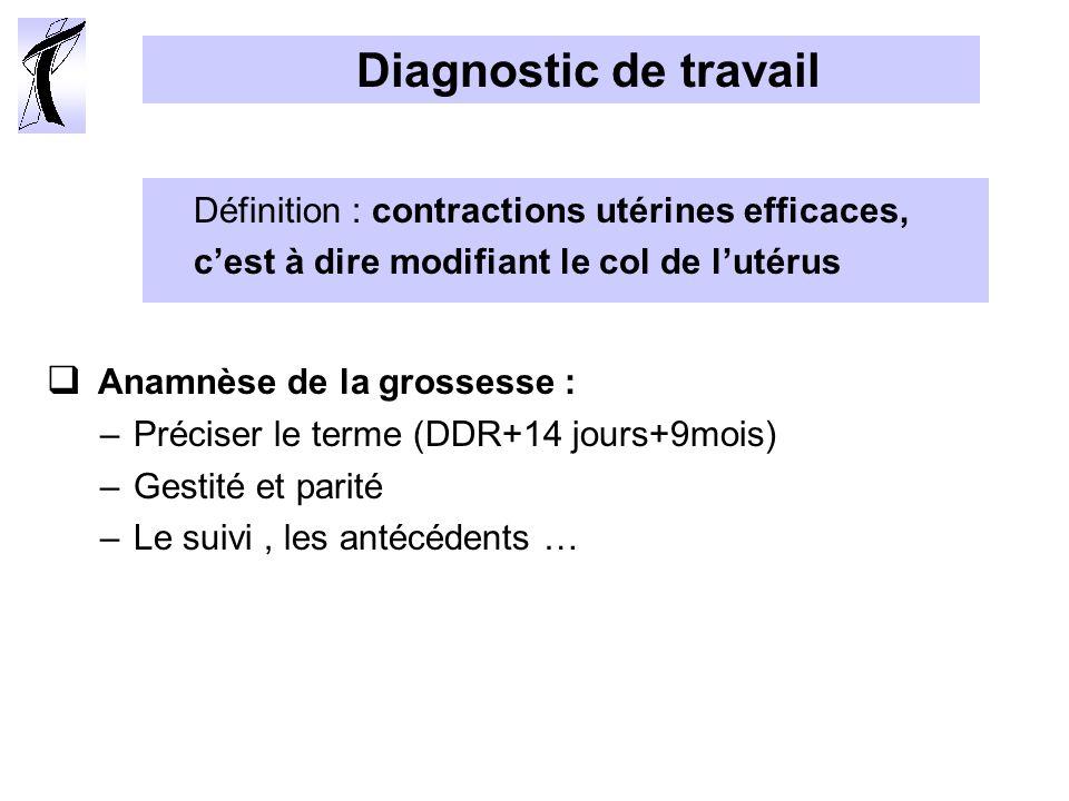 Diagnostic de travail Anamnèse de la grossesse :