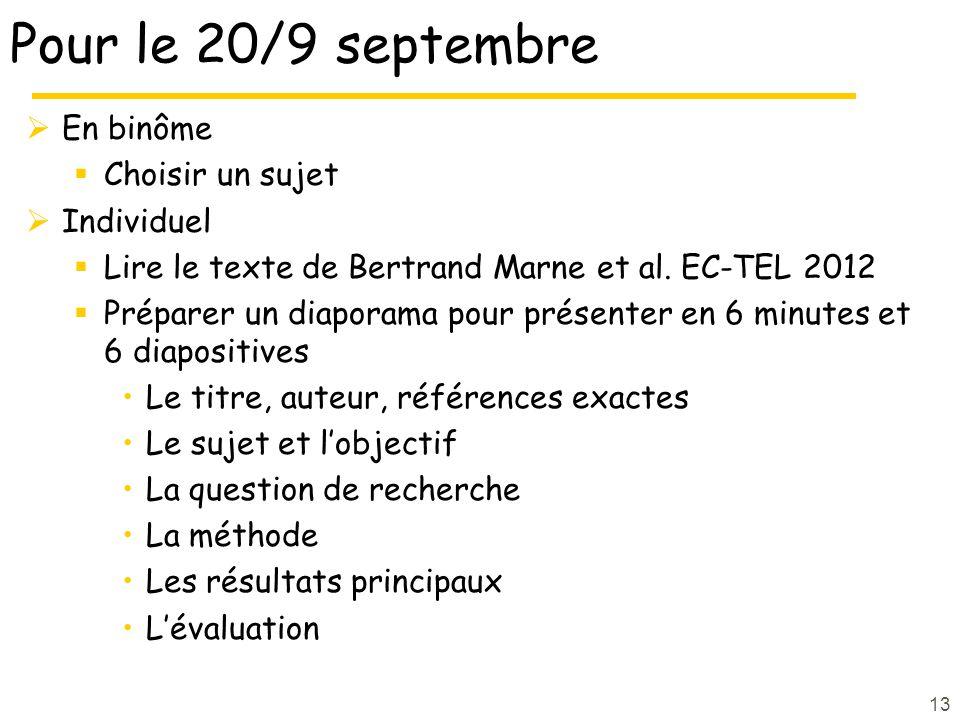 Pour le 20/9 septembre En binôme Choisir un sujet Individuel