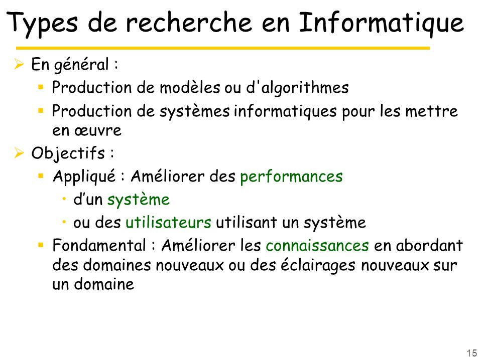 Types de recherche en Informatique