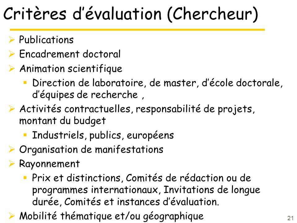 Critères d'évaluation (Chercheur)