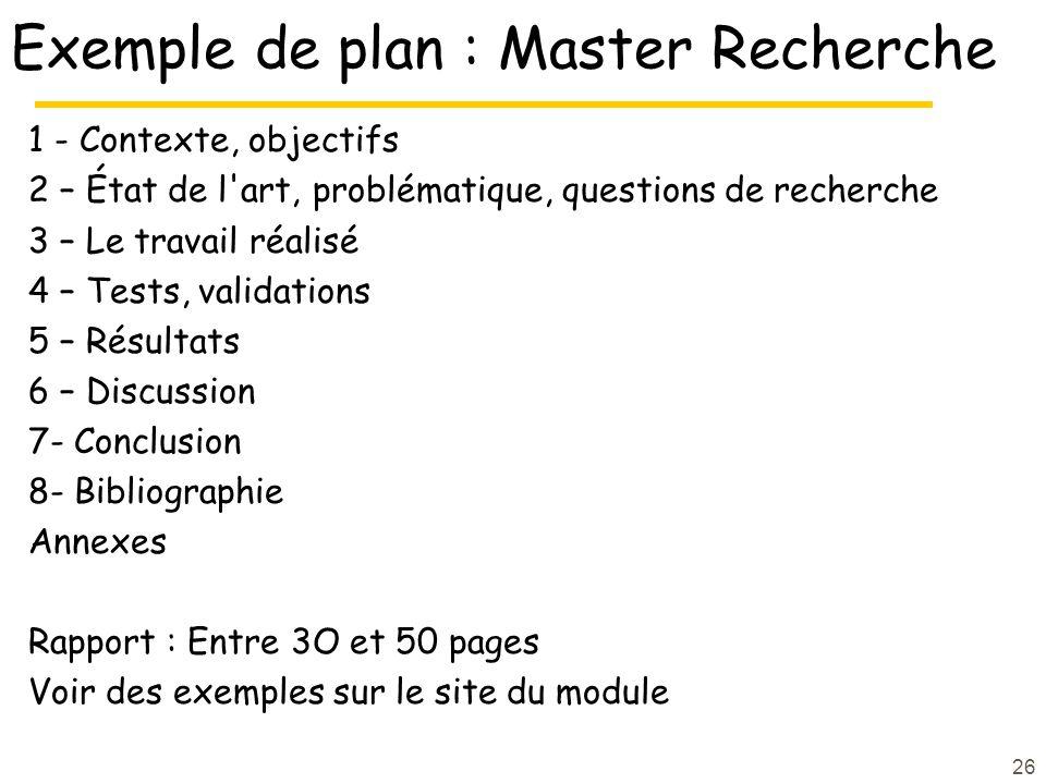 Exemple de plan : Master Recherche