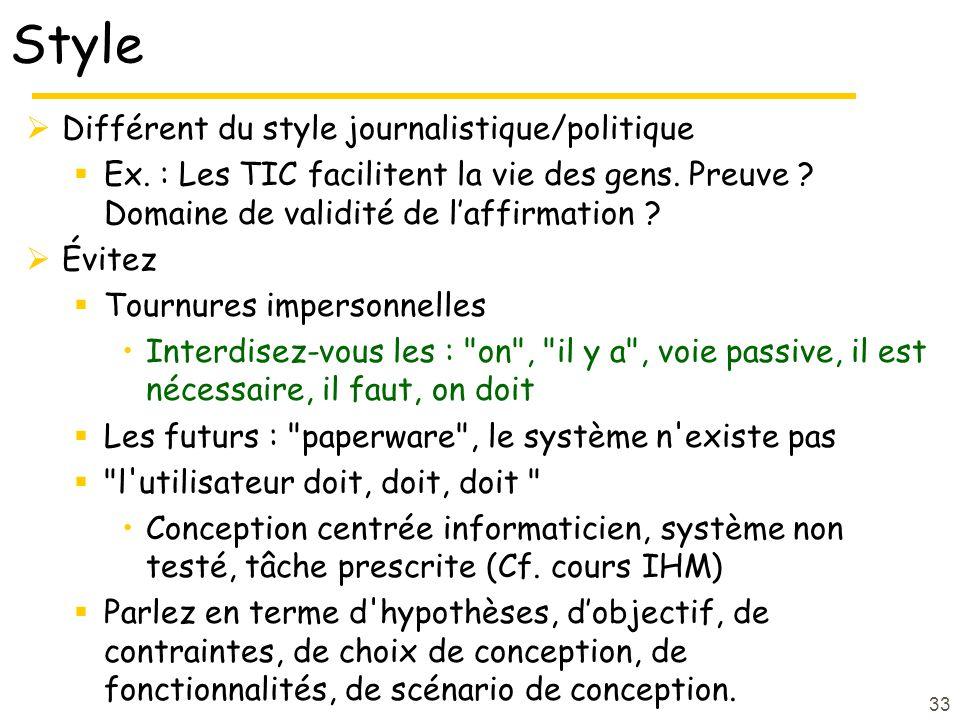 Style Différent du style journalistique/politique