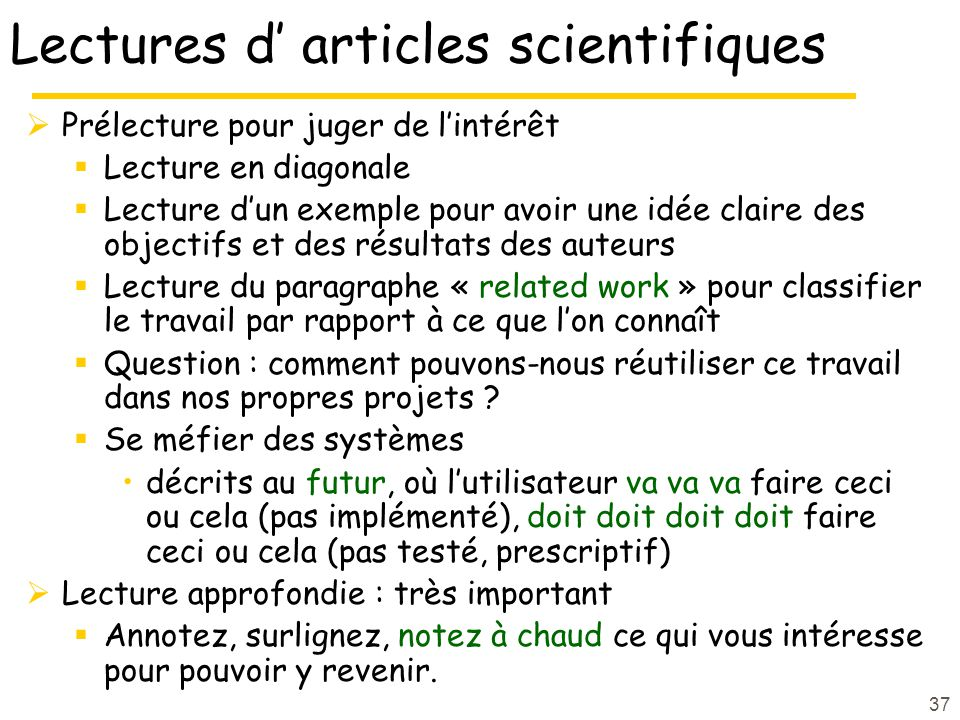 Lectures d' articles scientifiques