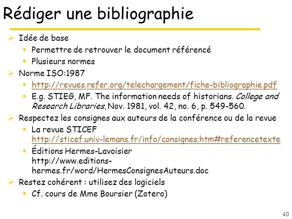 Rédiger une bibliographie