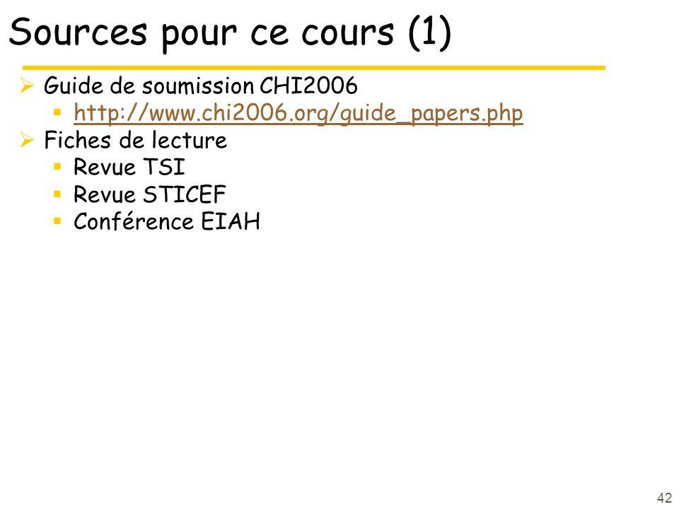 Sources pour ce cours (1)