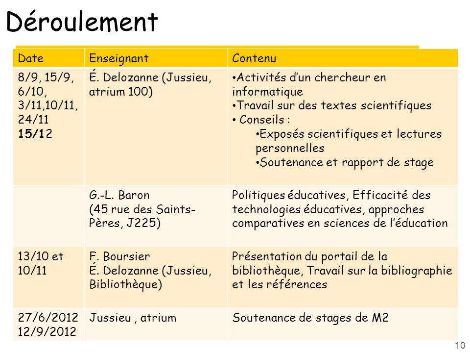 Déroulement Date Enseignant Contenu 8/9, 15/9, 6/10, 3/11,10/11, 24/11