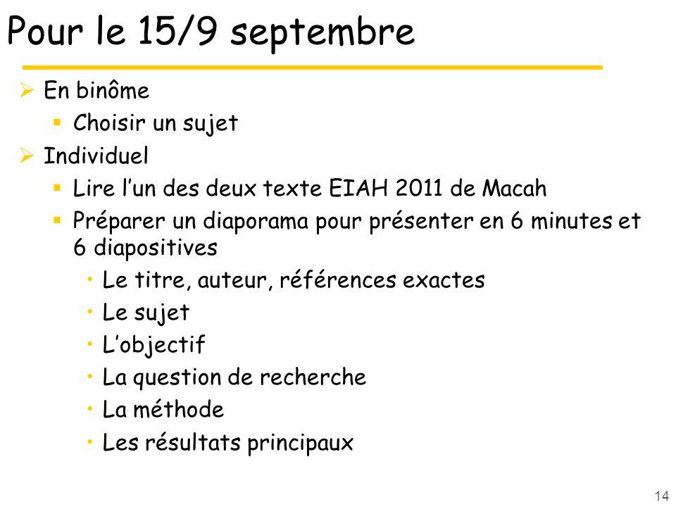 Pour le 15/9 septembre En binôme Choisir un sujet Individuel