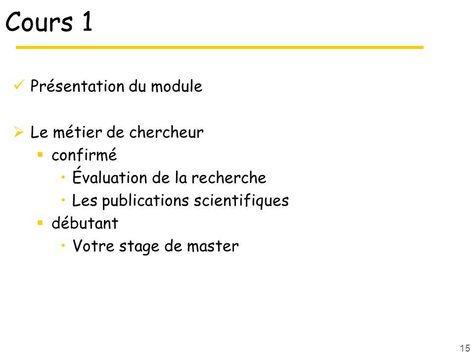 Cours 1 Présentation du module Le métier de chercheur confirmé