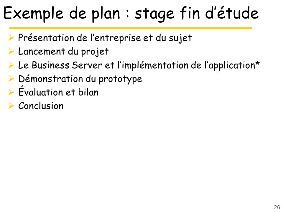 Exemple de plan : stage fin d'étude