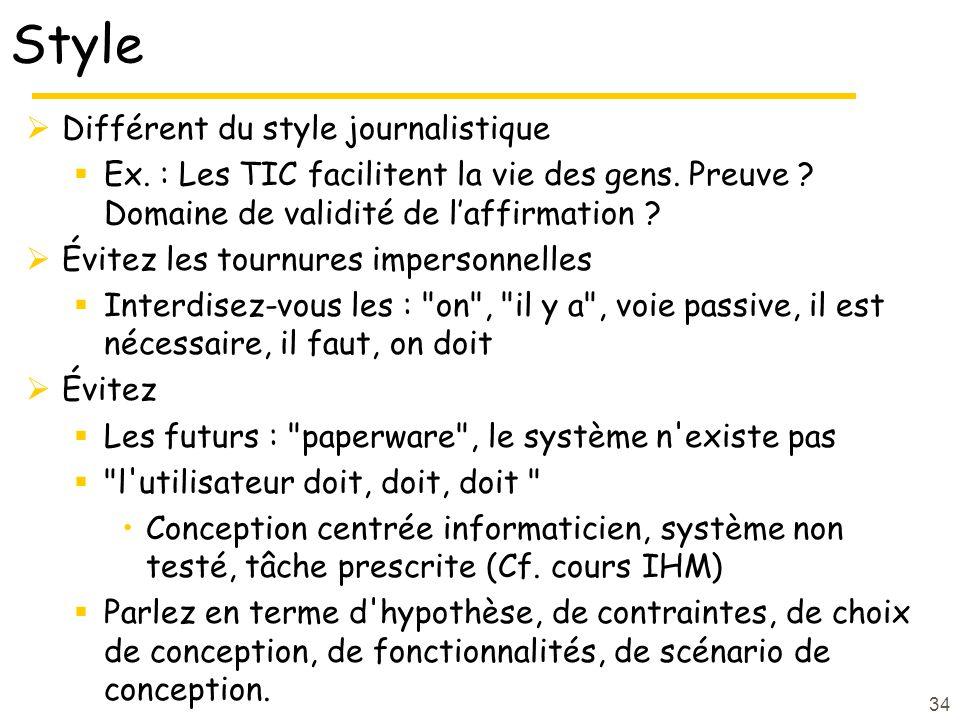 Style Différent du style journalistique