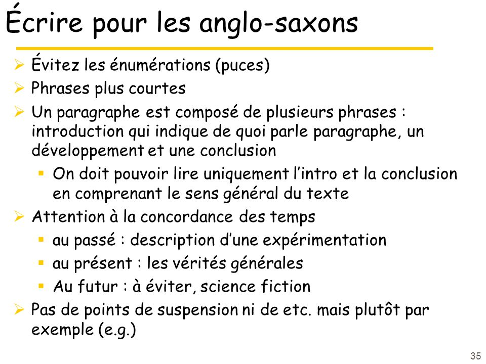 Écrire pour les anglo-saxons