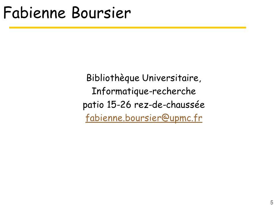 Fabienne Boursier Bibliothèque Universitaire, Informatique-recherche