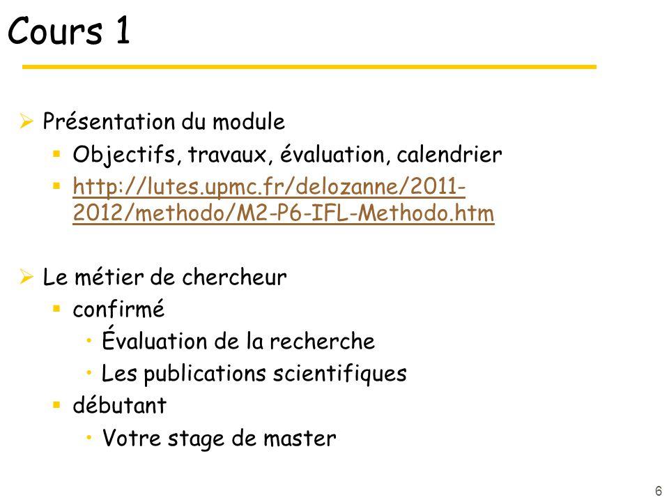 Cours 1 Présentation du module