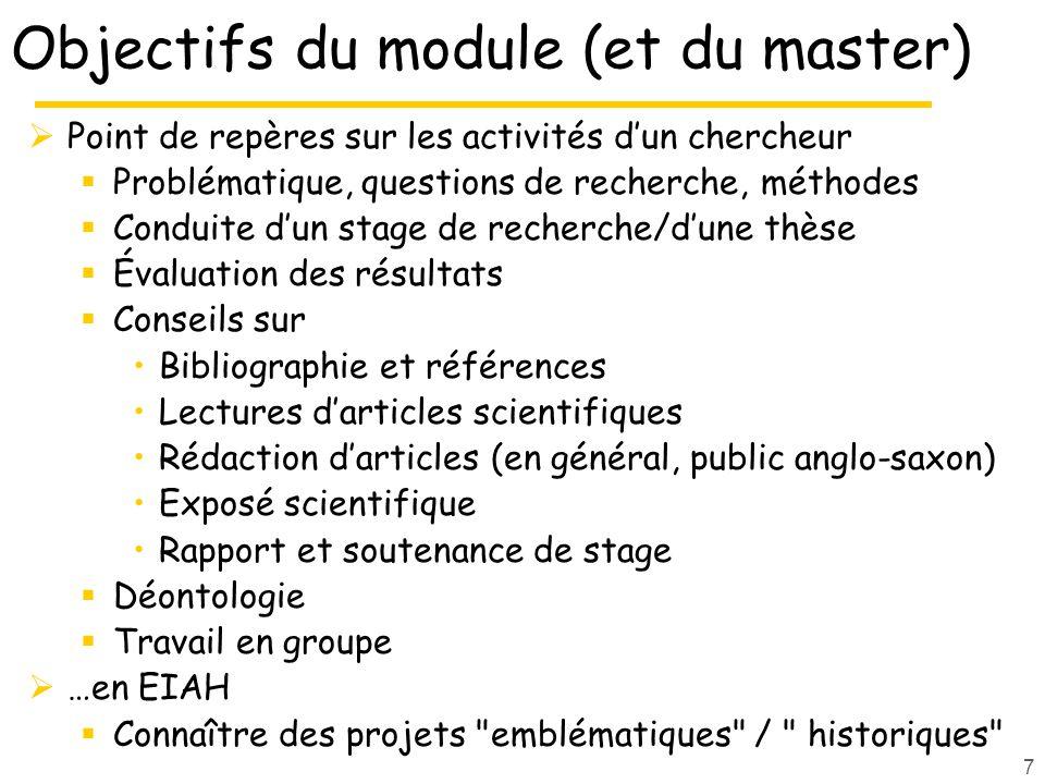 Objectifs du module (et du master)