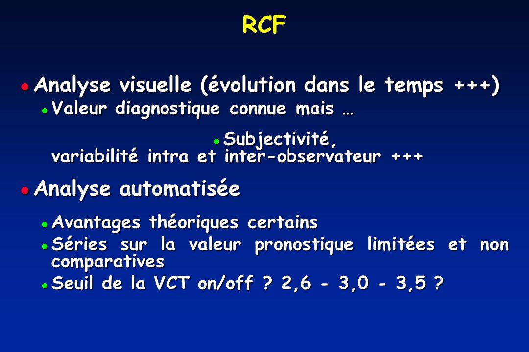 RCF Analyse visuelle (évolution dans le temps +++) Analyse automatisée