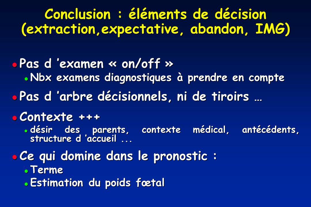 Conclusion : éléments de décision (extraction,expectative, abandon, IMG)