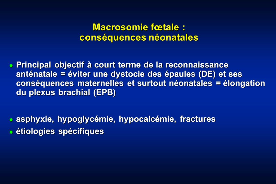 Macrosomie fœtale : conséquences néonatales