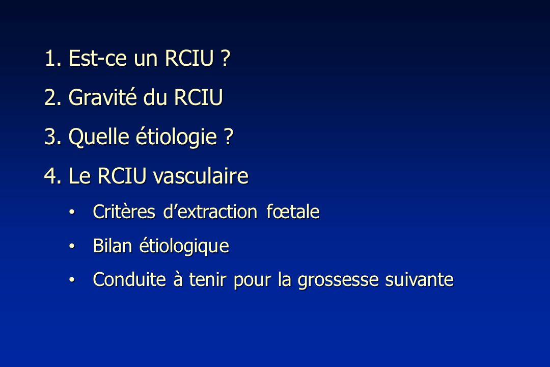 Est-ce un RCIU Gravité du RCIU Quelle étiologie Le RCIU vasculaire