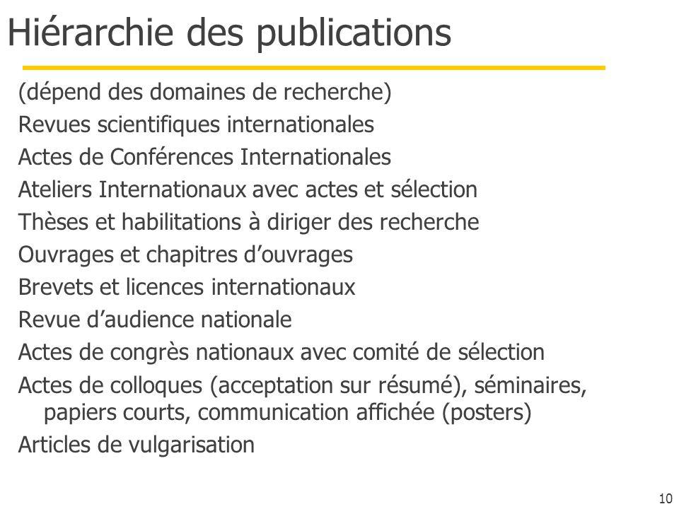 Hiérarchie des publications