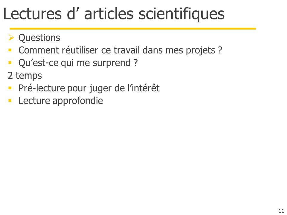 Lectures d' articles scientifiques
