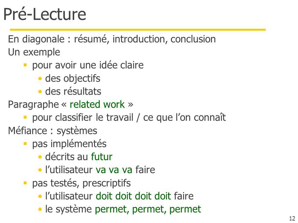 Pré-Lecture En diagonale : résumé, introduction, conclusion Un exemple