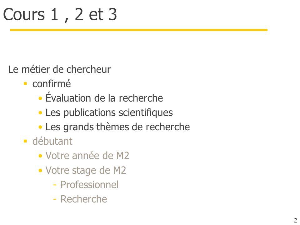 Cours 1 , 2 et 3 Le métier de chercheur confirmé