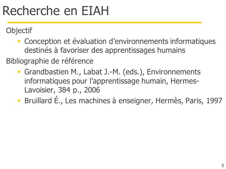 Recherche en EIAH Objectif