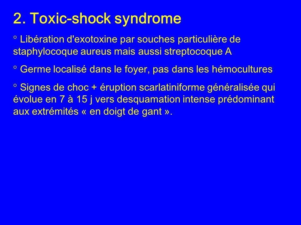2. Toxic-shock syndrome ° Libération d exotoxine par souches particulière de staphylocoque aureus mais aussi streptocoque A.