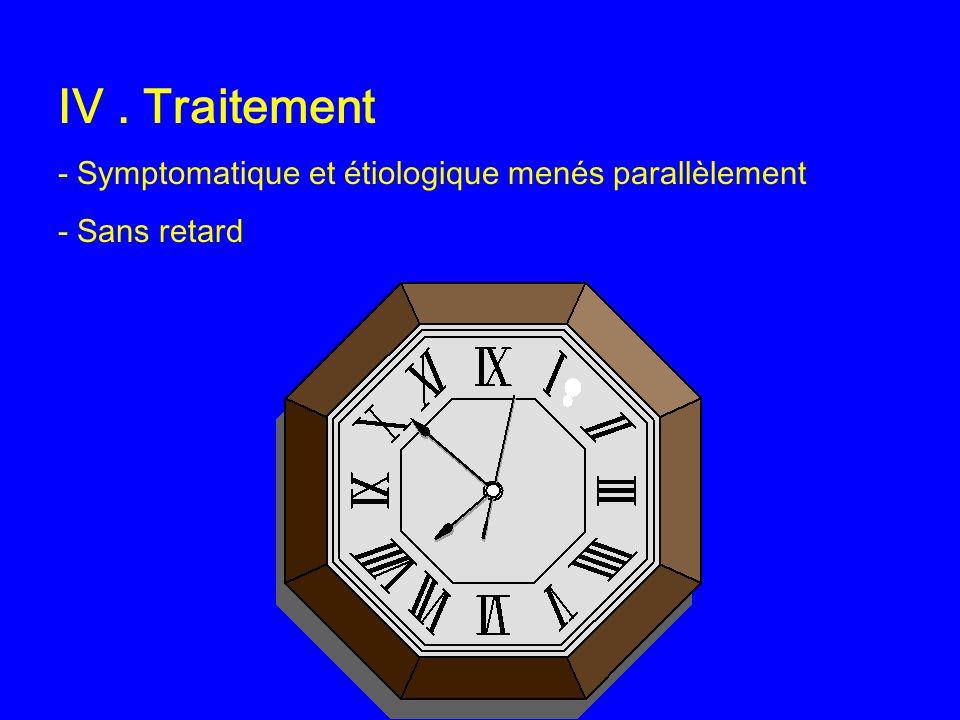 IV . Traitement - Symptomatique et étiologique menés parallèlement