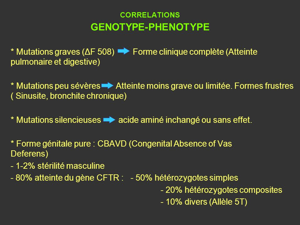 CORRELATIONS GENOTYPE-PHENOTYPE