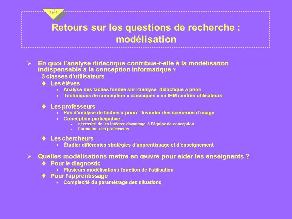 Retours sur les questions de recherche : modélisation