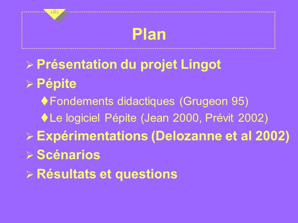 Plan Présentation du projet Lingot Pépite