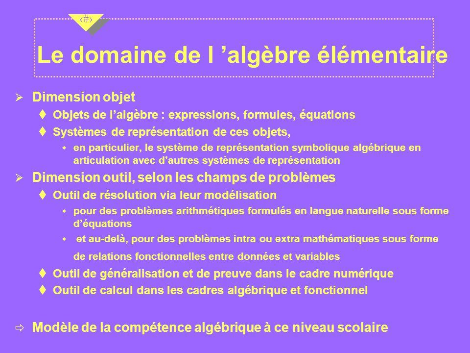 Le domaine de l 'algèbre élémentaire
