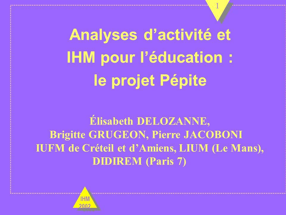 Analyses d'activité et IHM pour l'éducation : le projet Pépite
