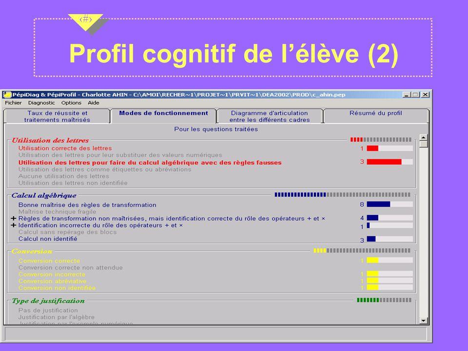 Profil cognitif de l'élève (2)