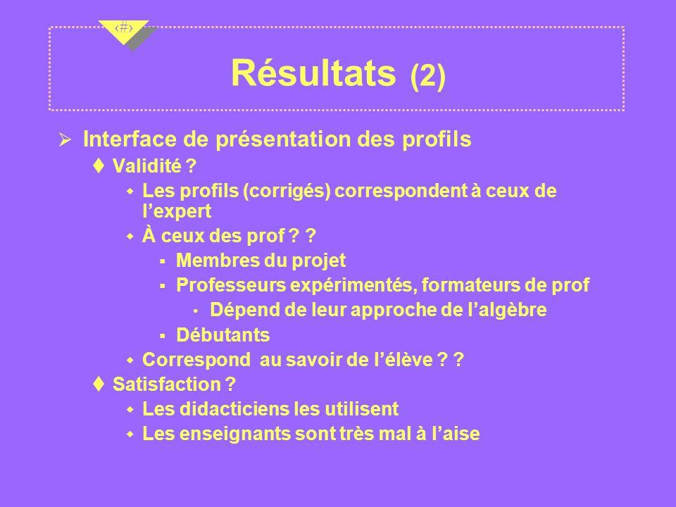 Résultats (2) Interface de présentation des profils Validité