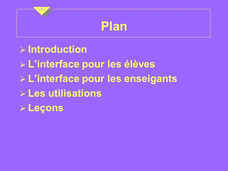 Plan Introduction L'interface pour les élèves