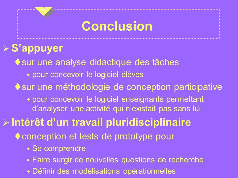 Conclusion S'appuyer Intérêt d'un travail pluridisciplinaire