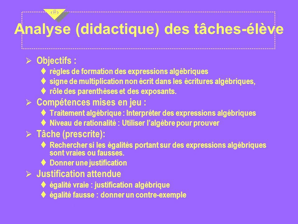 Analyse (didactique) des tâches-élève