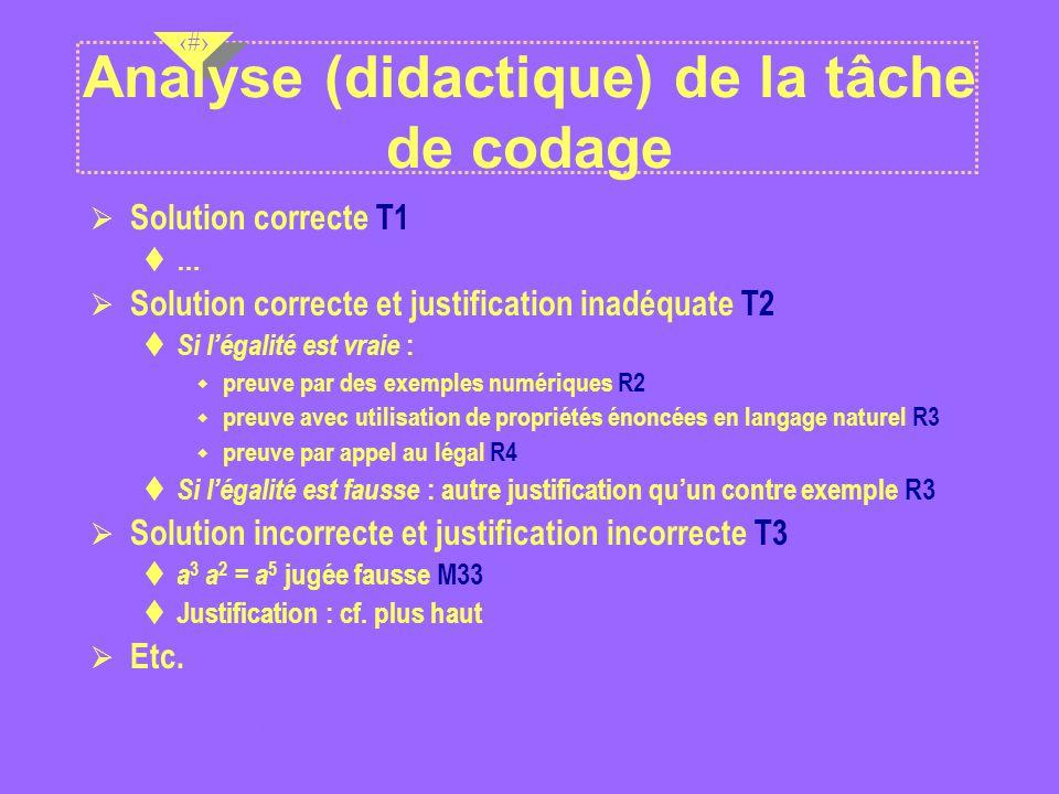 Analyse (didactique) de la tâche de codage