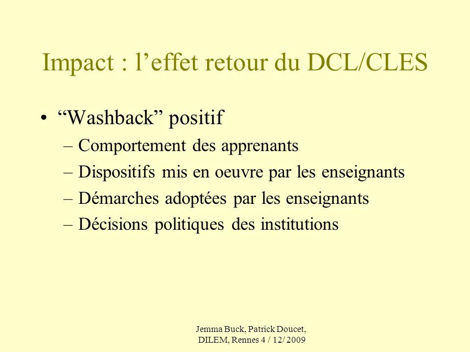 Impact : l'effet retour du DCL/CLES