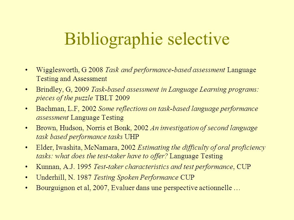 Bibliographie selective