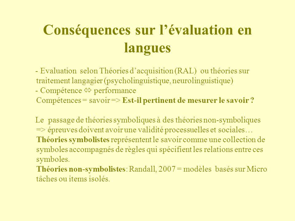 Conséquences sur l'évaluation en langues