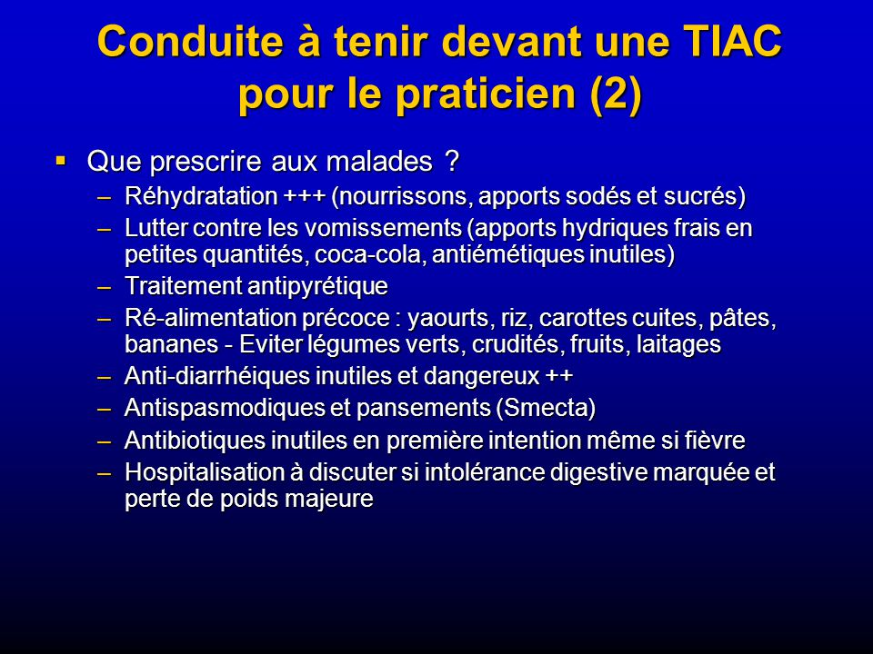Conduite à tenir devant une TIAC pour le praticien (2)