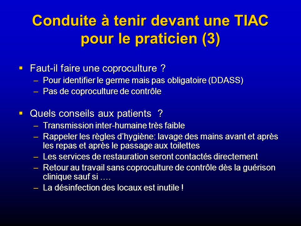 Conduite à tenir devant une TIAC pour le praticien (3)
