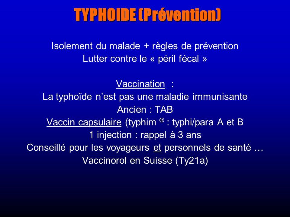 TYPHOIDE (Prévention)