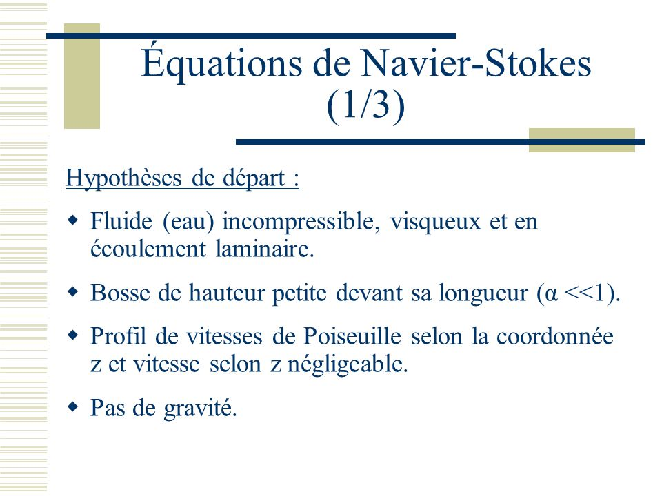 Équations de Navier-Stokes (1/3)