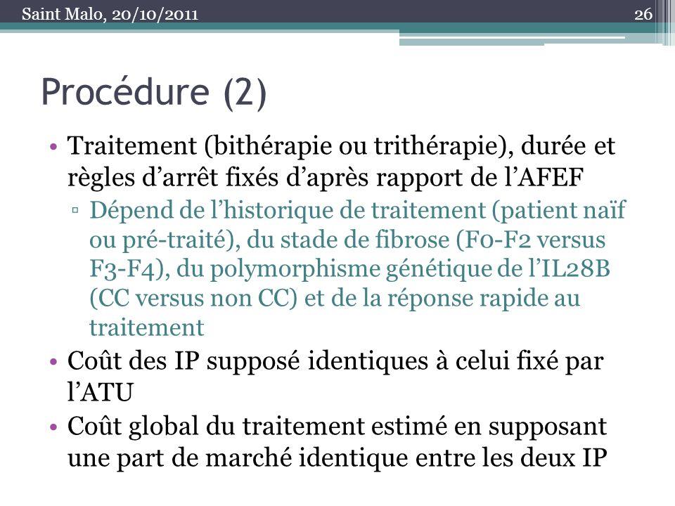 Saint Malo, 20/10/2011 Procédure (2) Traitement (bithérapie ou trithérapie), durée et règles d'arrêt fixés d'après rapport de l'AFEF.