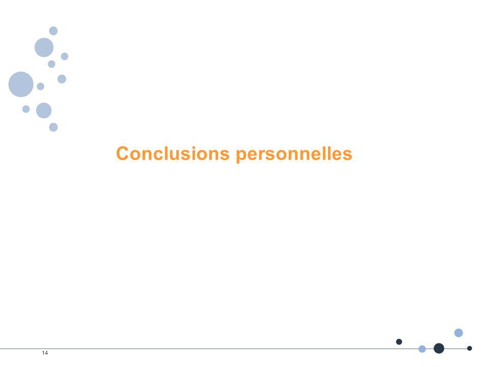 Conclusions personnelles