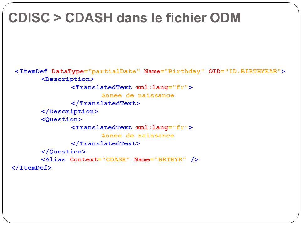 CDISC > CDASH dans le fichier ODM